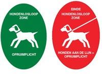 Uitleg over het groene bordje met opruimplicht en rode bordje met honden aan de lijn en opruimplicht